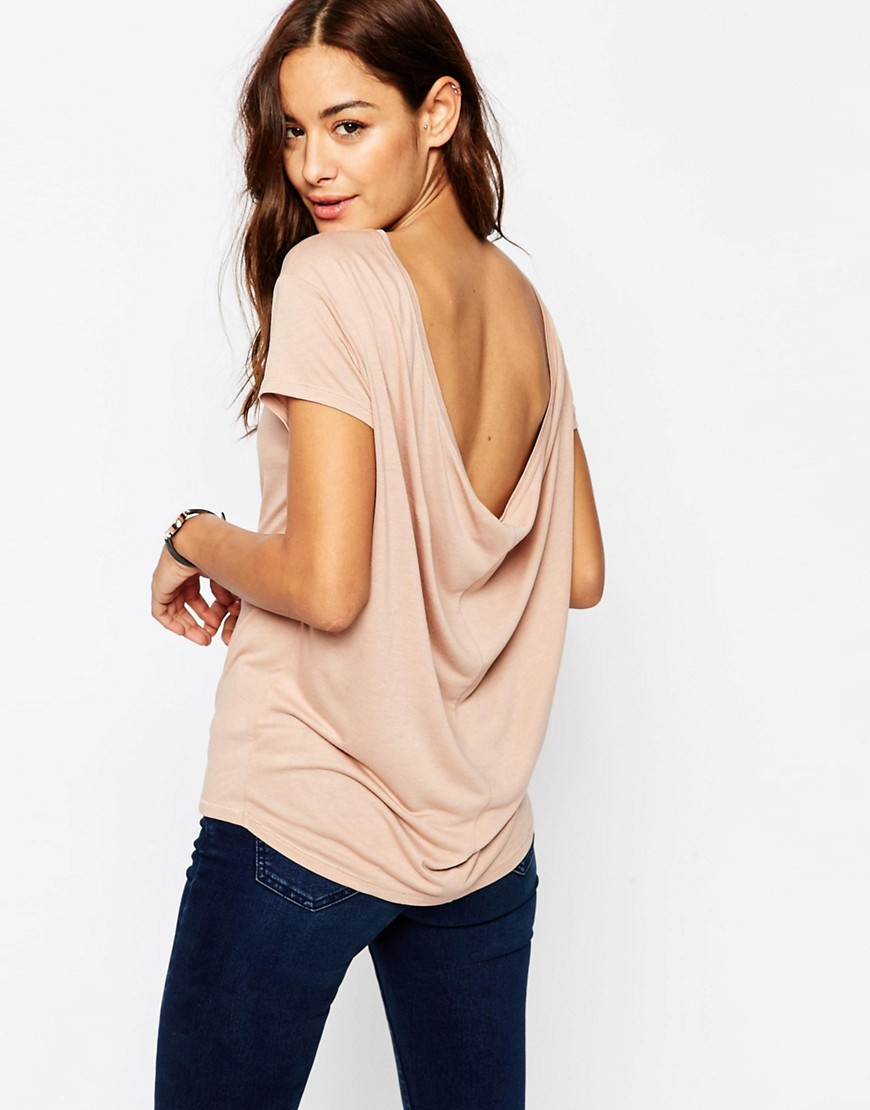 Asos t shirt with scoop back in brown lyst for Asos design free t shirt
