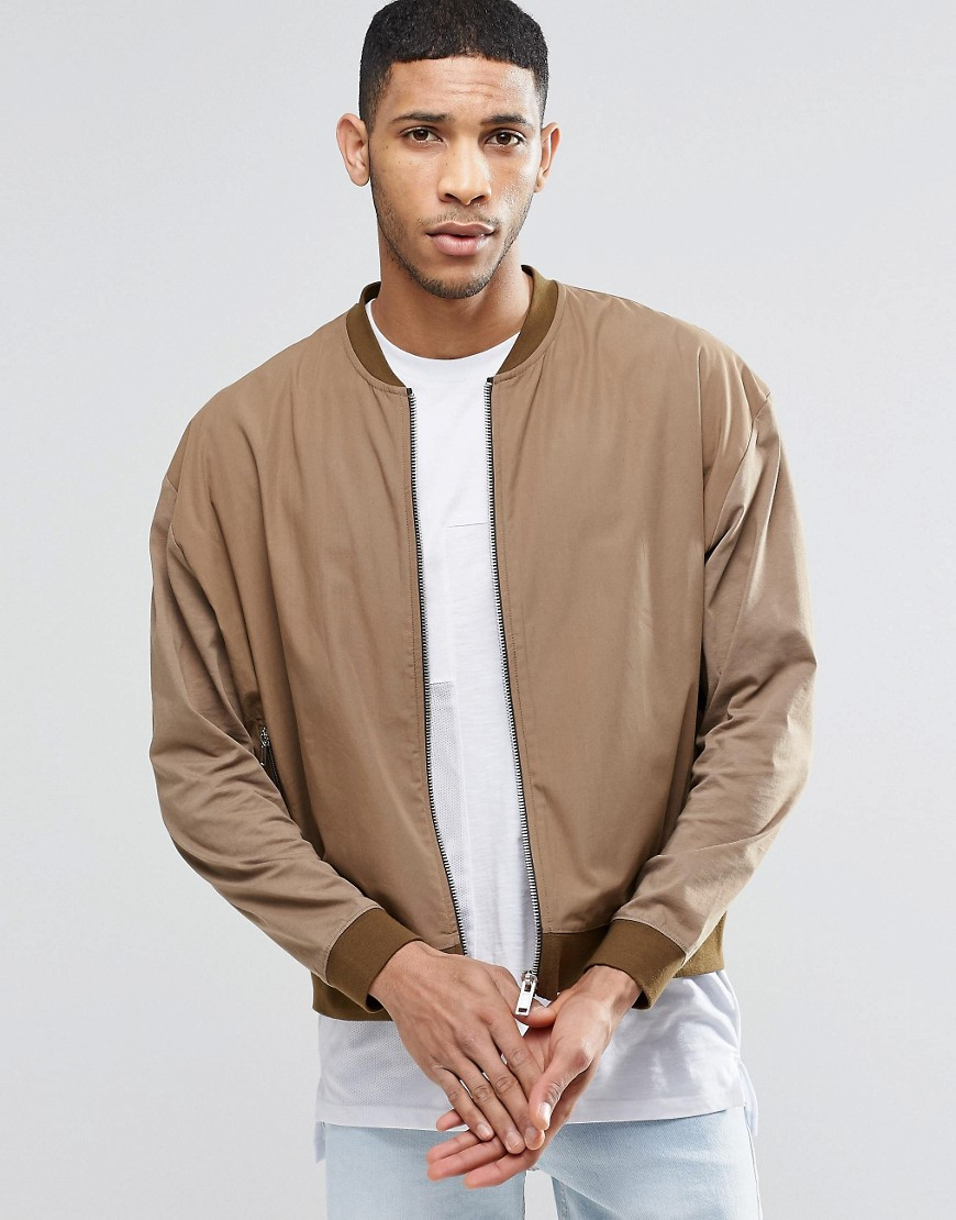 lyst asos oversized lightweight jersey bomber jacket with woven panel in brown for men. Black Bedroom Furniture Sets. Home Design Ideas