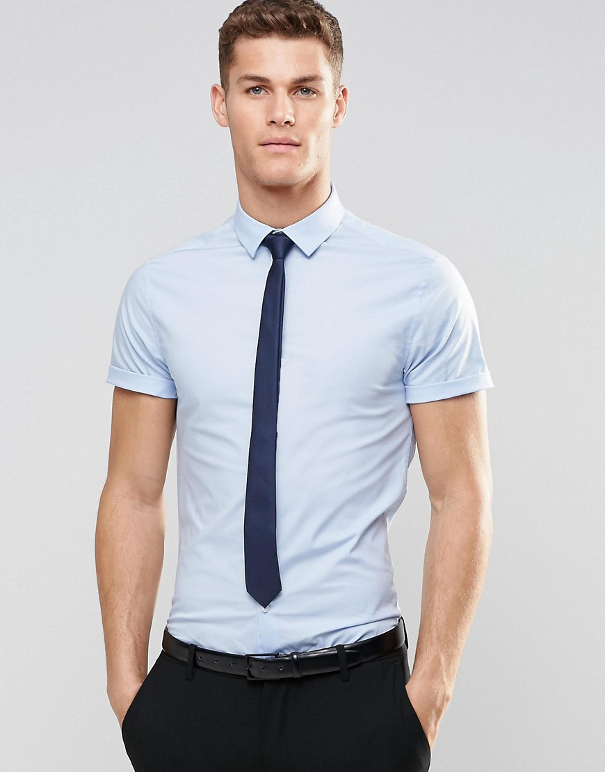 Lyst Asos Skinny Shirt In Blue With Navy Tie Save 15 In