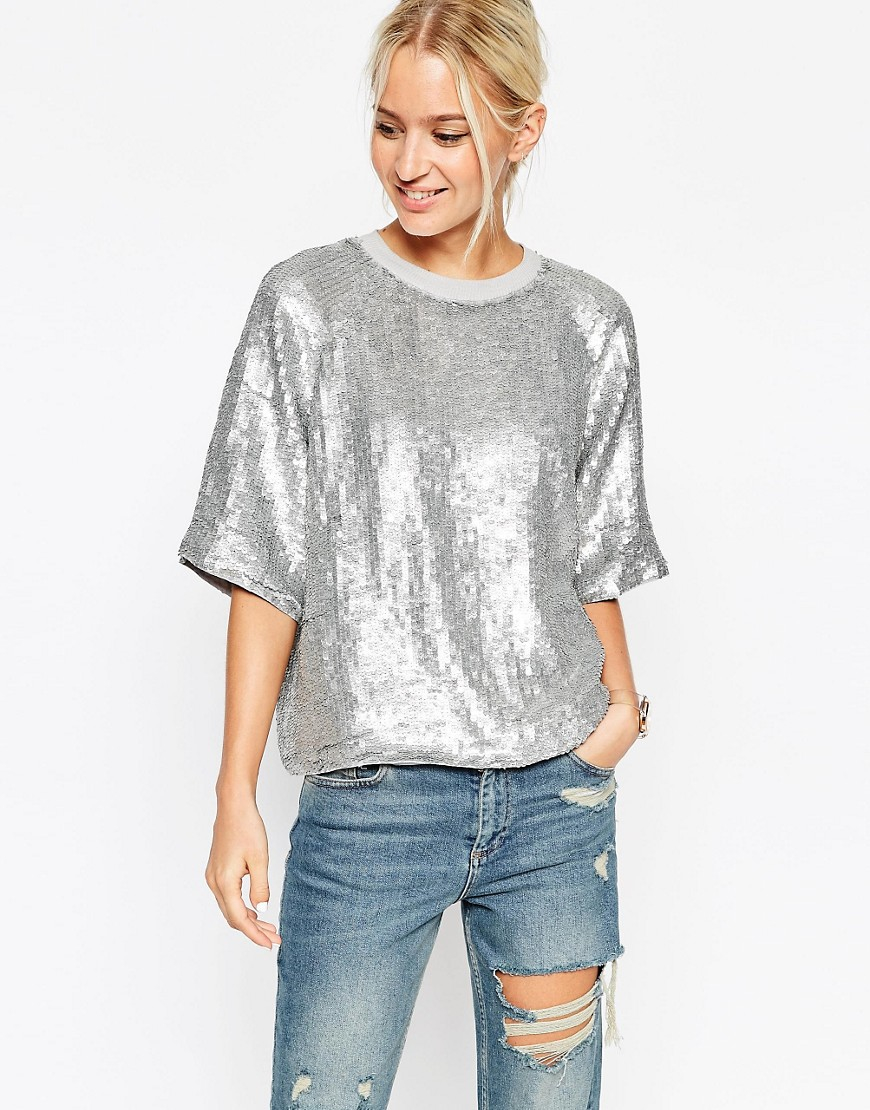 asos glitter sequin silver sweat t shirt in metallic