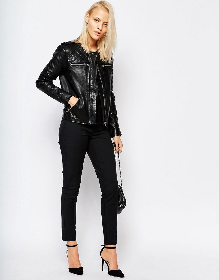 Lyst Selected Isabello Leather Jacket With Quilted