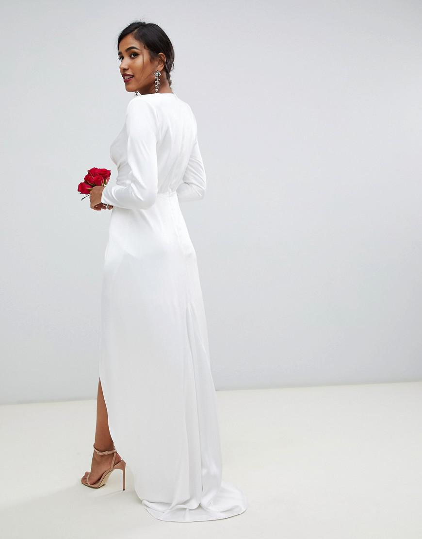 d0f059c81c Lyst - ASOS Pleated Plunge Wrap Wedding Dress In Satin in White
