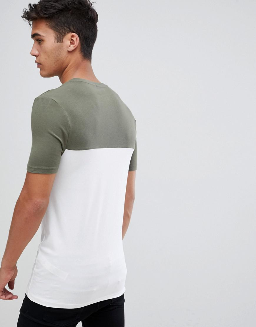 45d8e33d ASOS Muscle Fit T-shirt With Contrast Yoke In White in White for Men - Lyst