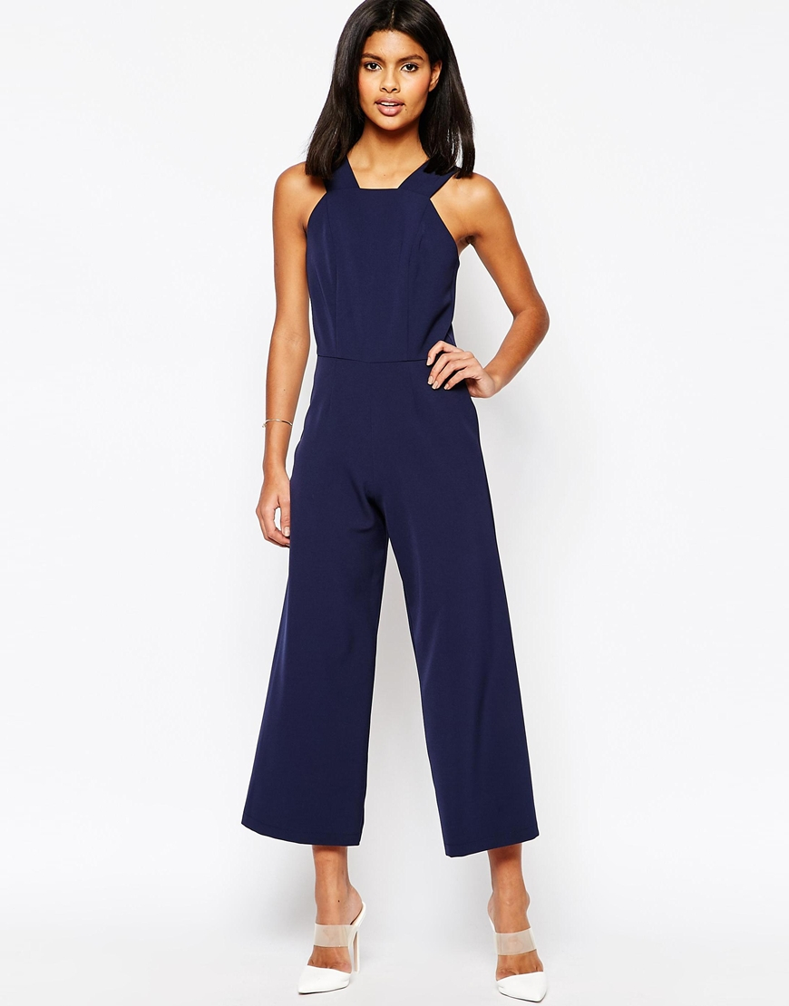 f3c40acc314 Lyst - ASOS Tailored High Neck Pinafore Jumpsuit in Blue