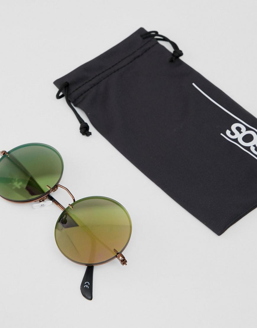3e994c8eee Lyst - Asos Design Round Sunglasses In Copper With Laid On Mirrored Lens  for Men