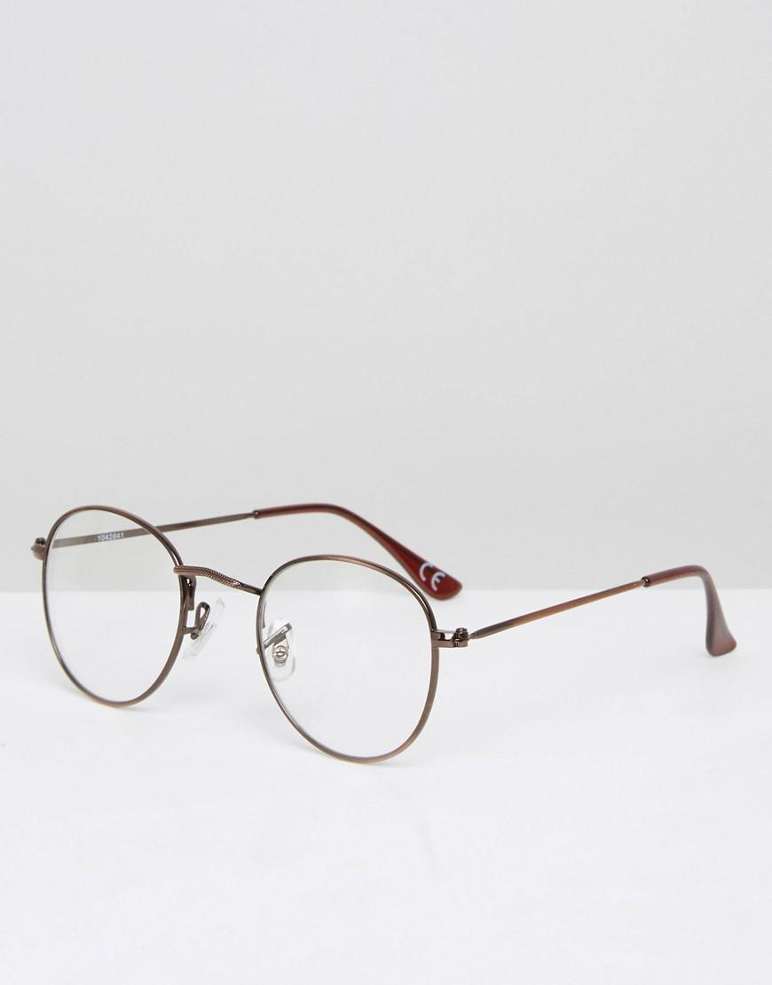 fa23f933f2e Lyst - Asos Round Clear Lens Sunglasses With Burnished Copper Frame ...
