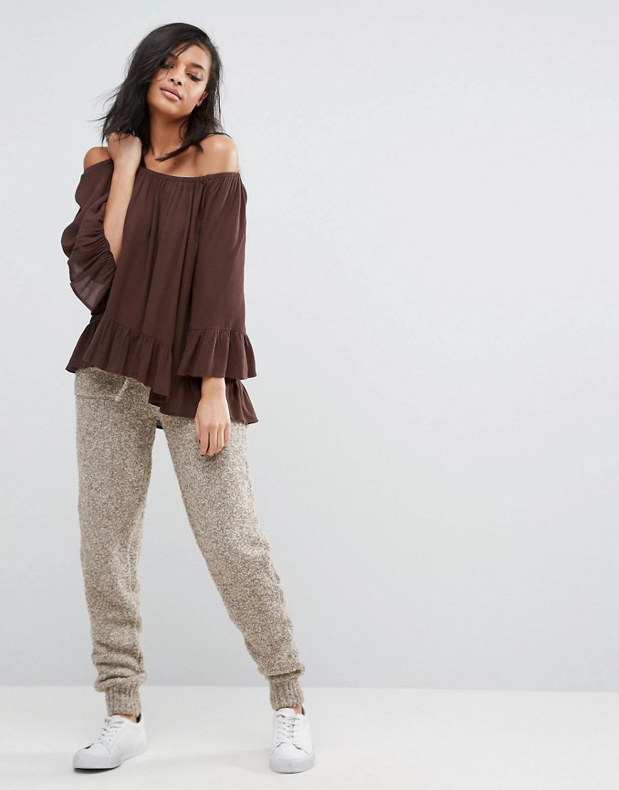 d8155b910493d Lyst - Minimum Off The Shoulder Floaty Bardot Top in Brown