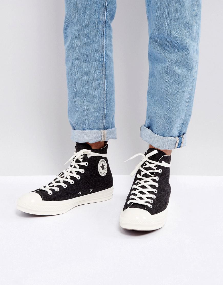 14ab7a7421fca7 Converse. Men s Chuck Taylor All Star  70 Hi Felt Sneakers In Black 157481c