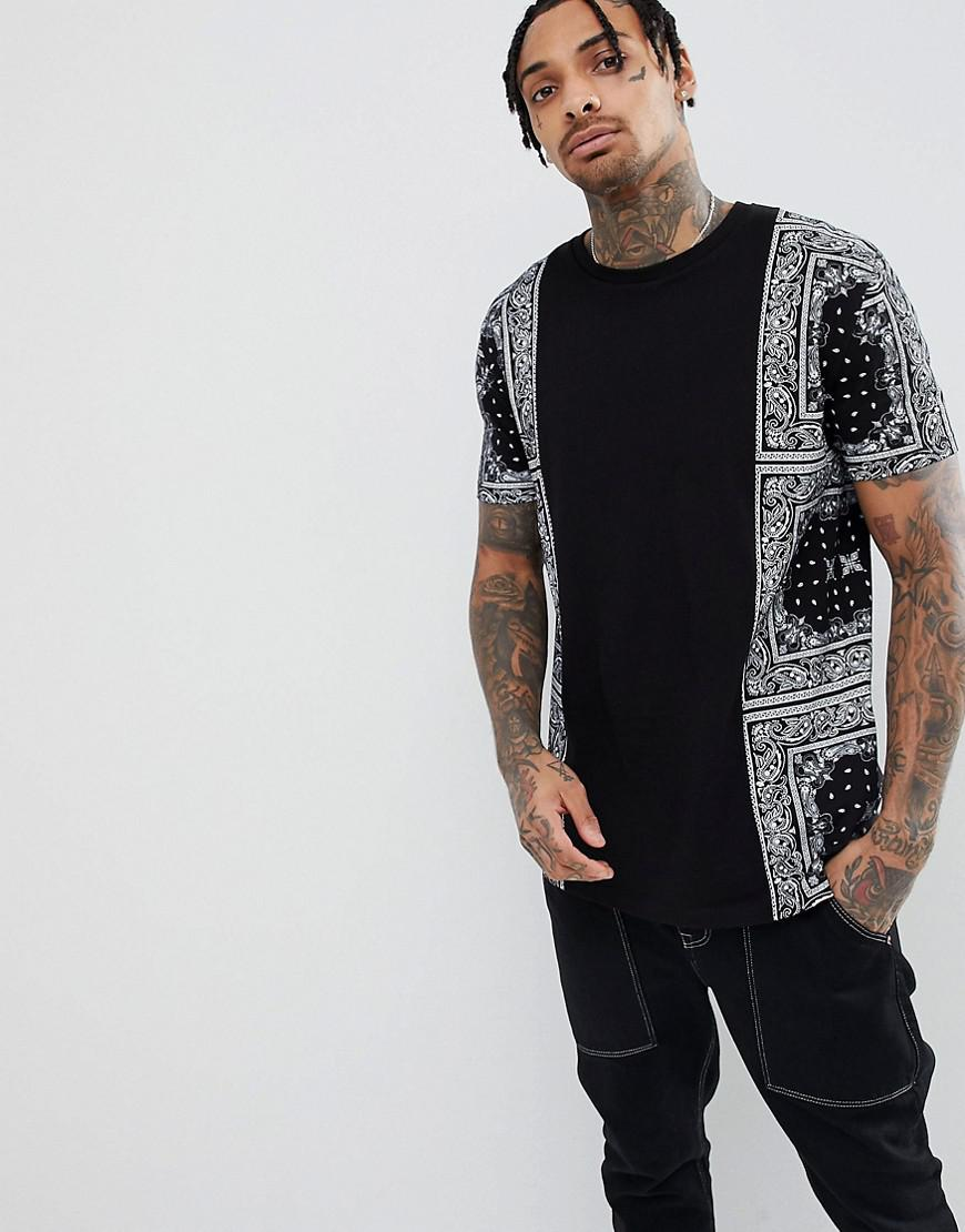 4013993feaac Lyst - ASOS Longline T-shirt With Bandana Panels And Curved Hem in ...