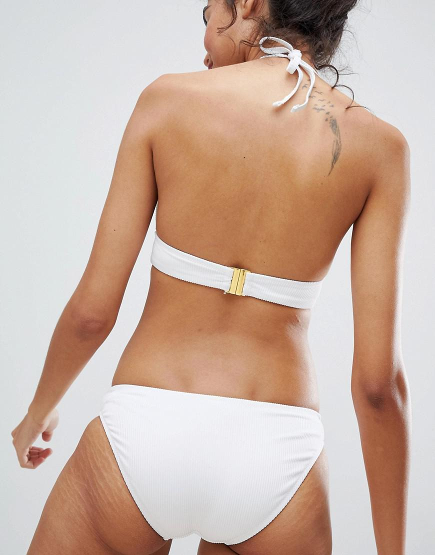 3a2a80968637c New Look Rib Hipster Bikini Bottom in White - Lyst