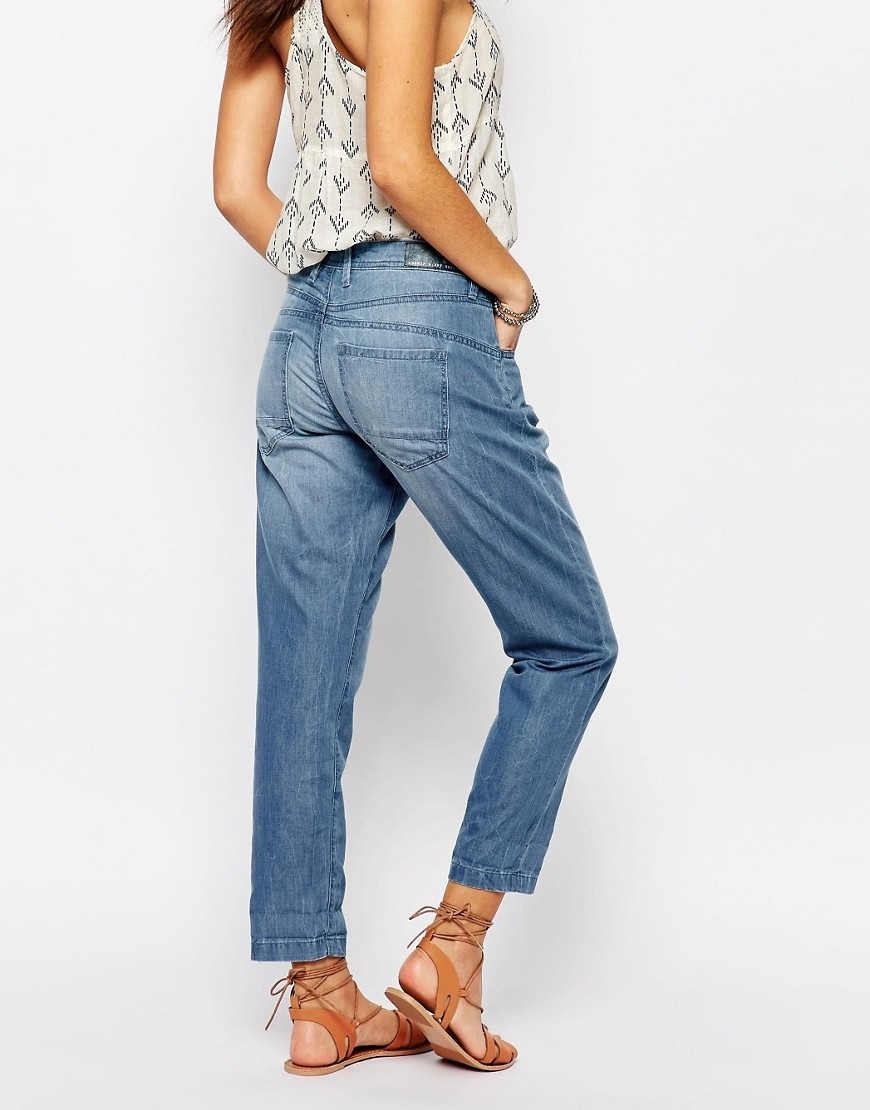 Lyst esprit chambray slouchy jeans in blue for Chambray jeans