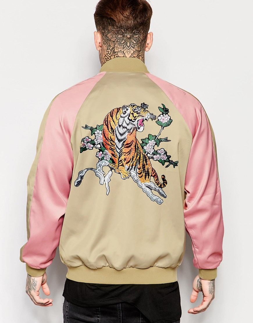 Jaded london Souvenir Bomber Jacket With Tiger Back Print in ...