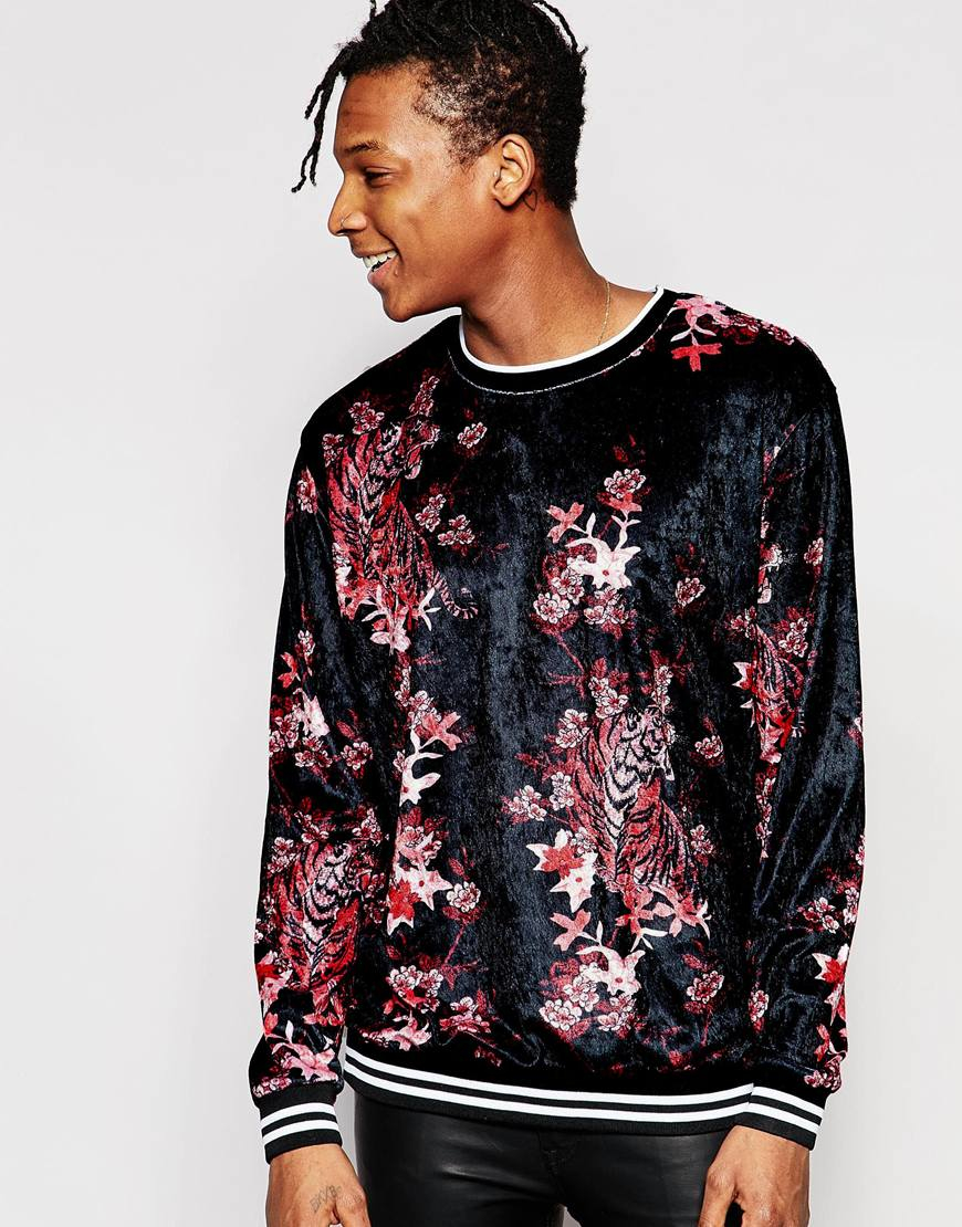 Jaded London Velvet Sweatshirt With All Over Floral Tiger