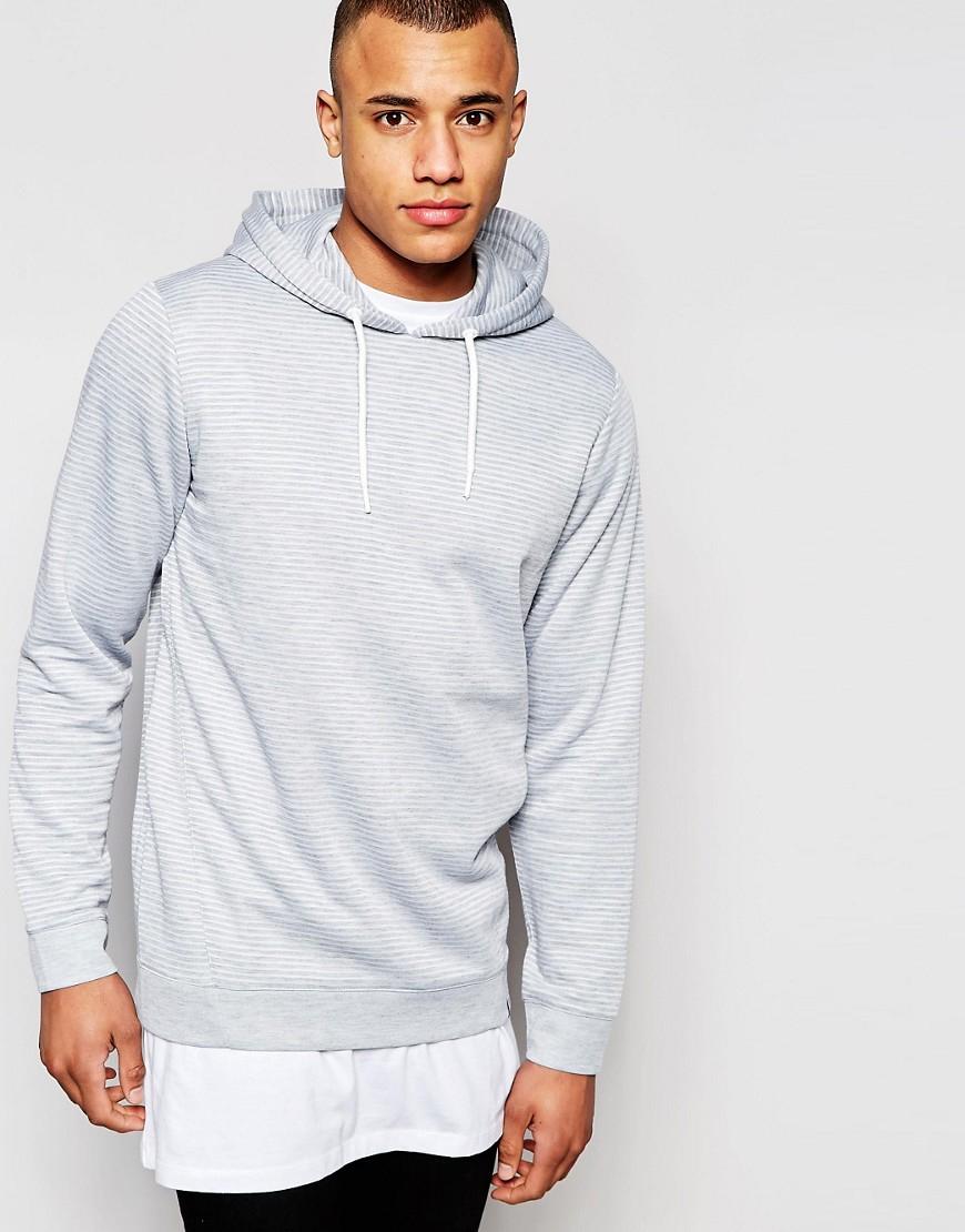 jack jones textured overhead hoodie in gray for men lyst. Black Bedroom Furniture Sets. Home Design Ideas