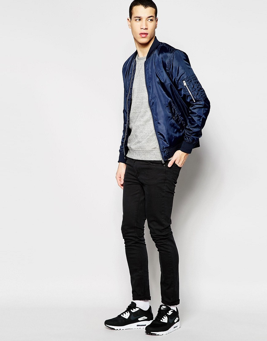 jack jones lightweight bomber jacket in blue for men. Black Bedroom Furniture Sets. Home Design Ideas