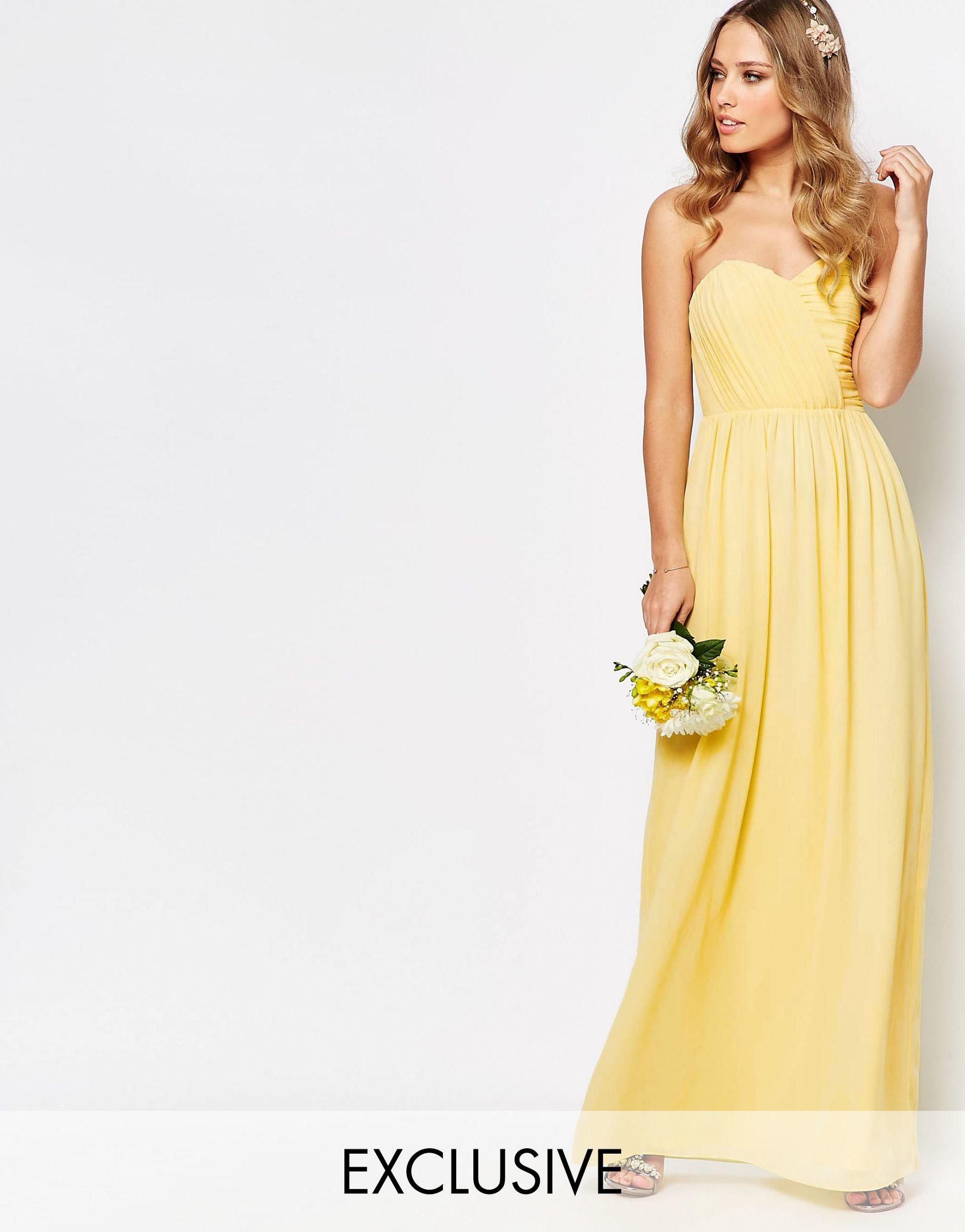 Tfnc london wedding bandeau chiffon maxi dress in yellow for Yellow maxi dress for wedding