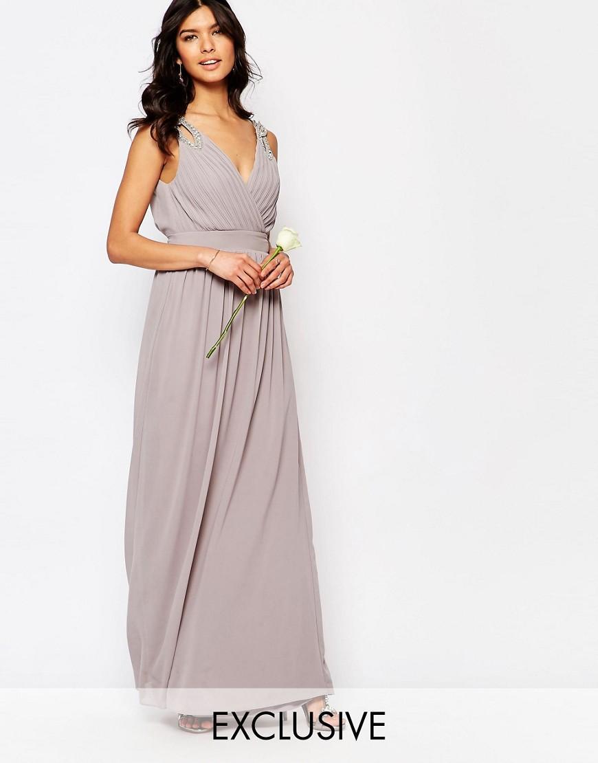 Lyst tfnc london wedding wrap embellished maxi dress for Tfnc wedding wrap maxi dress