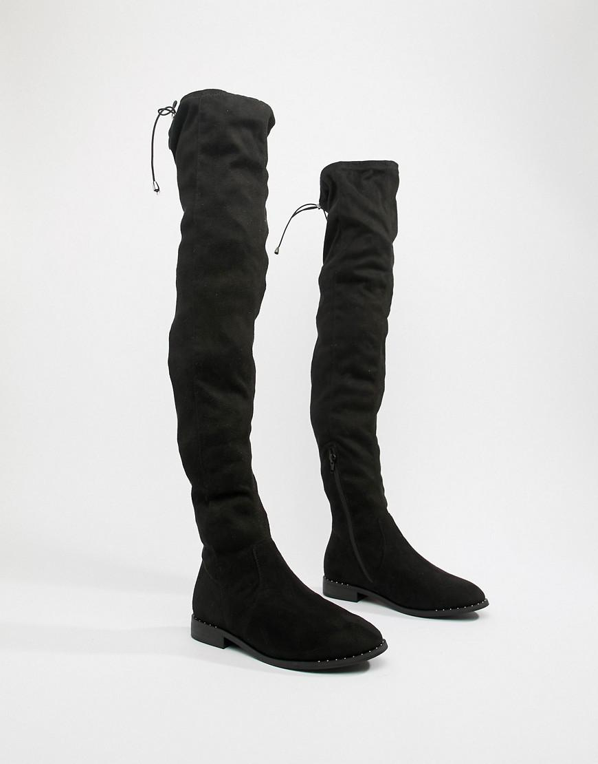 b26f6c56921 ASOS Asos Design Wide Fit Tall Kaska Flat Studded Over The Knee Boots in  Black - Lyst