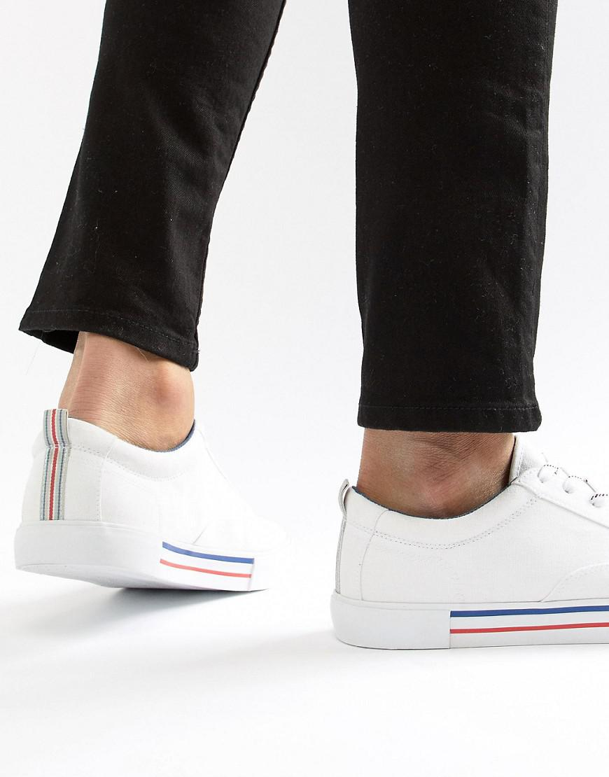 ASOS. Men's Design Lace Up Plimsolls In White With Navy And Red Detailing