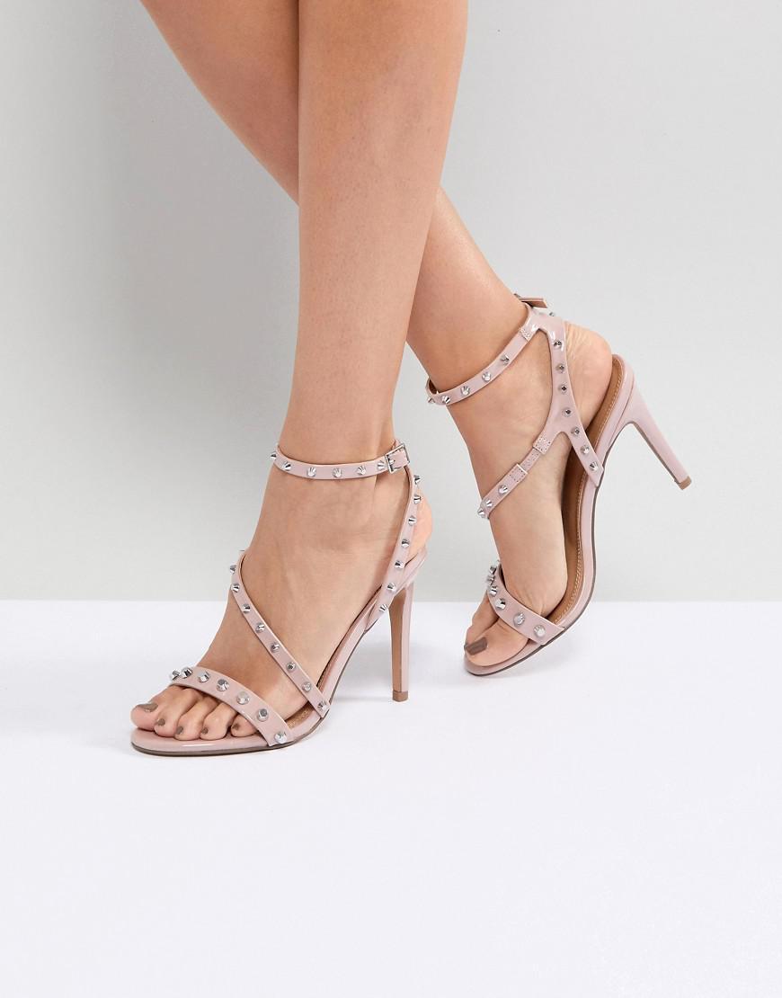 94d771fb68f5 ASOS Asos Hacker Studded Heeled Sandals in Natural - Lyst