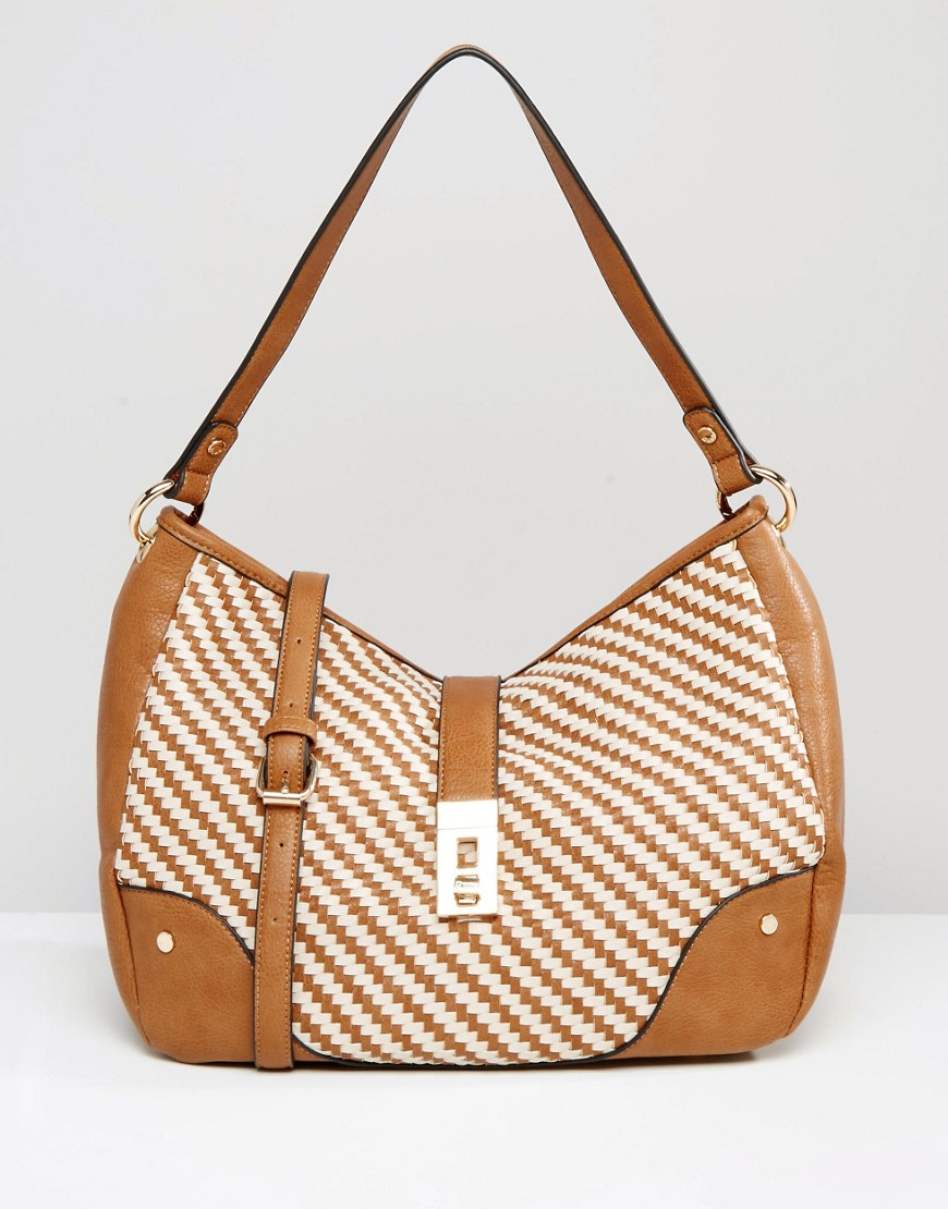Lyst Dune Woven Shoulder Bag In Brown