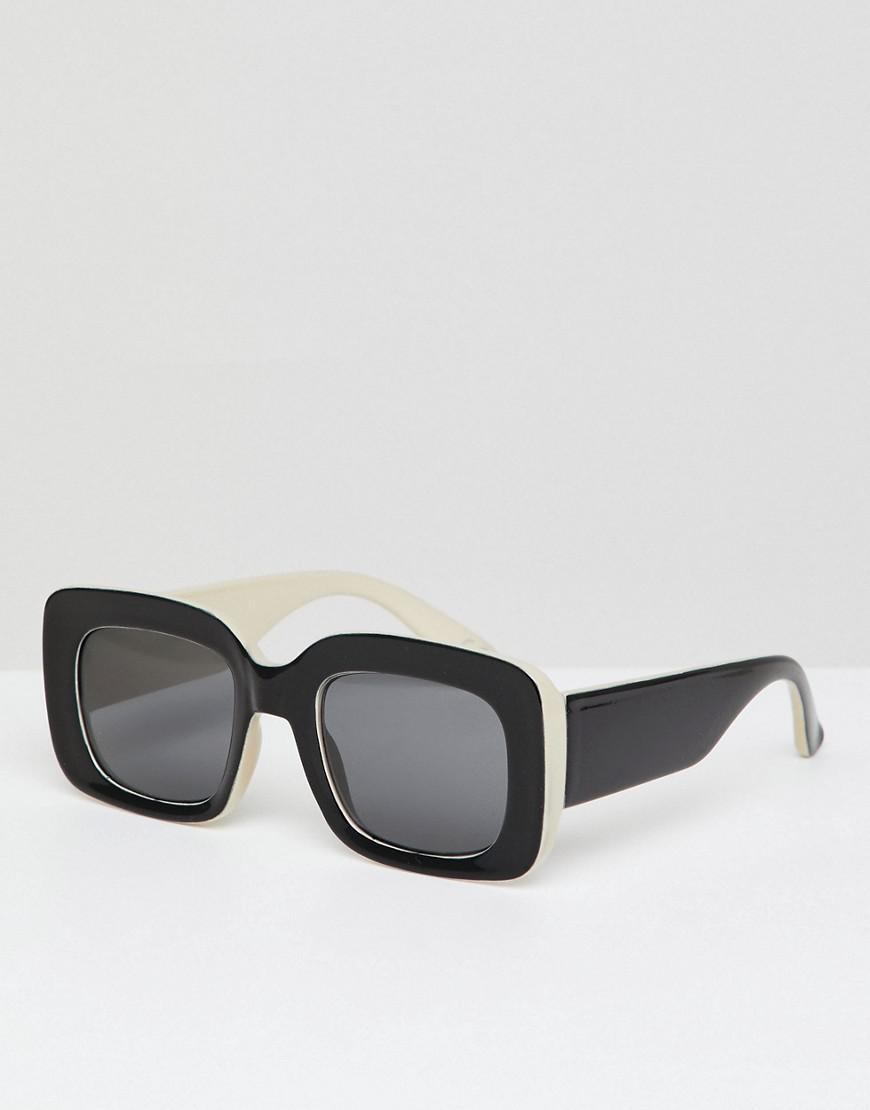 b51b3614fe Lyst - ASOS Square Sunglasses In Black   White With Smoke Lens in ...