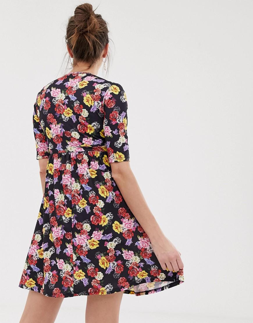 c006a1d0f50a3 Lyst - Bluebelle Maternity Wrap Over Skater Dress In Floral Print