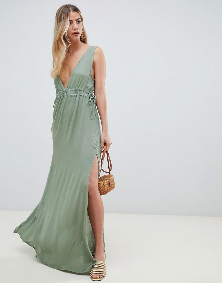 5b176ffe83 Asos Petite Slinky Maxi Beach Dress With Plaited Strap