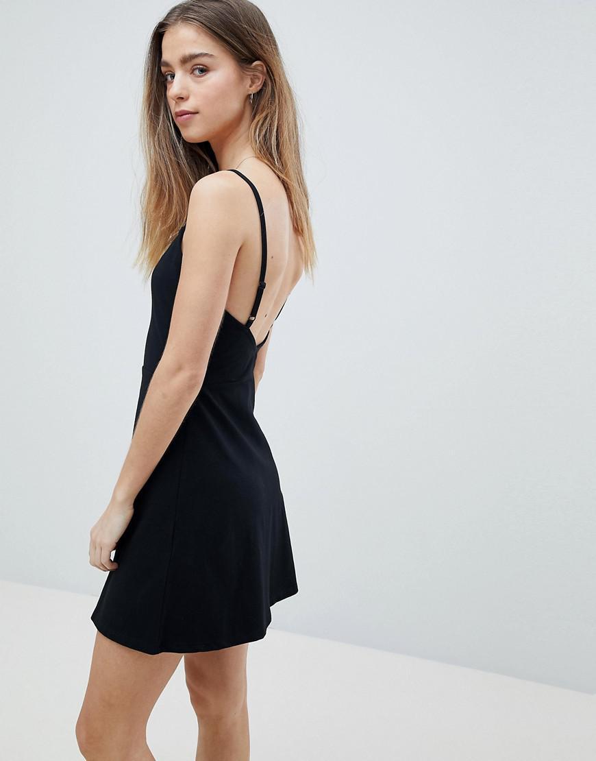 58d4f196184b2 ASOS Asos Design Petite Mini Square Neck Skater Dress in Black - Lyst