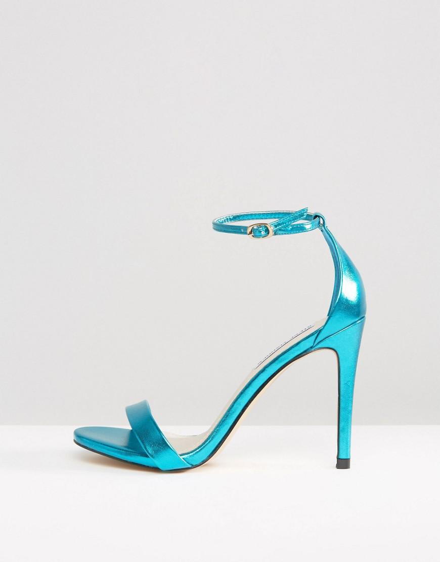 8c1597c46cc Steve Madden Stecy Metallic Blue Barely There Heeled Sandals in Blue - Lyst