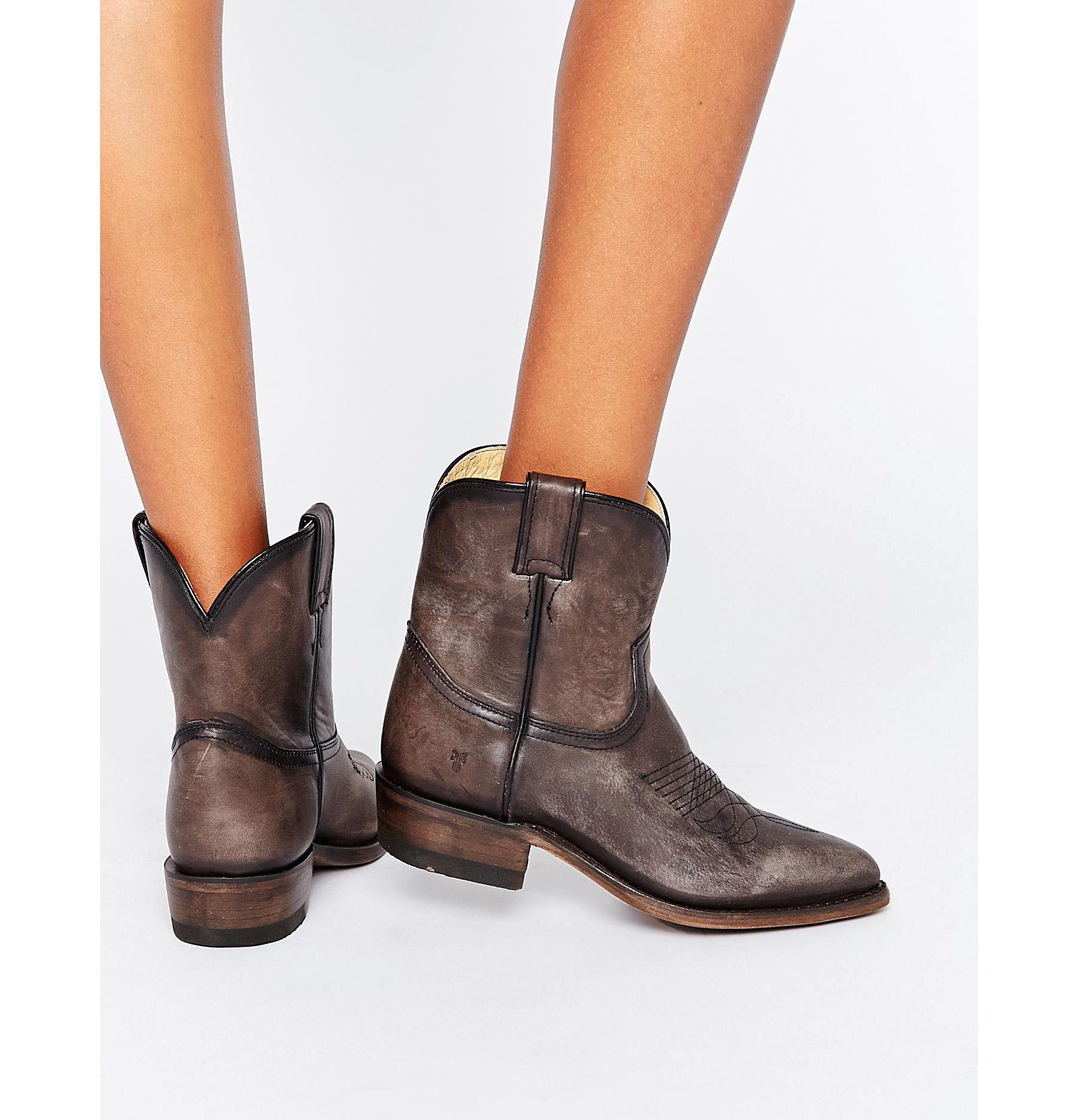 378d0437b9d Lyst - Frye Billy Short Leather Western Boots