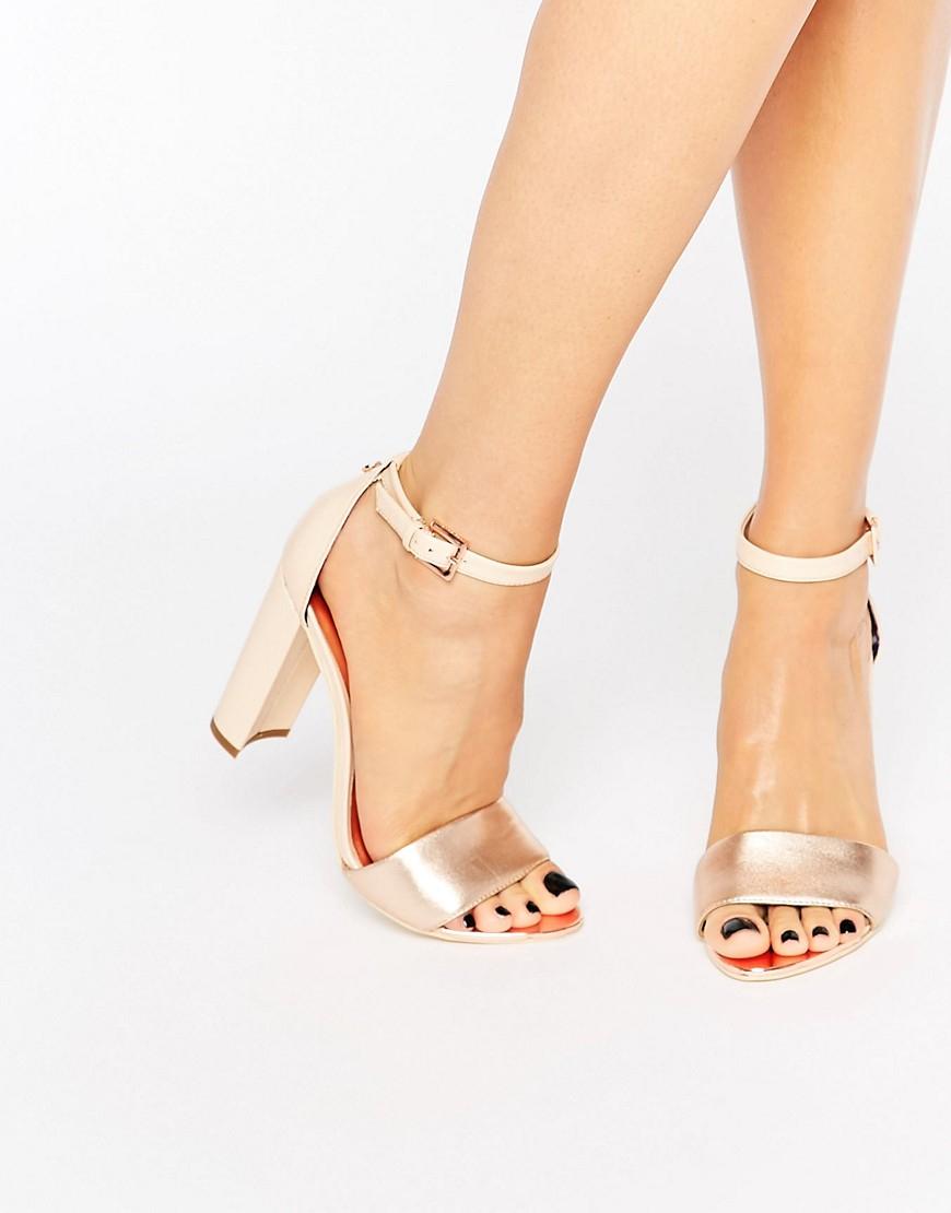 Lyst Ted Baker Pink Metallic Block Heel Sandals