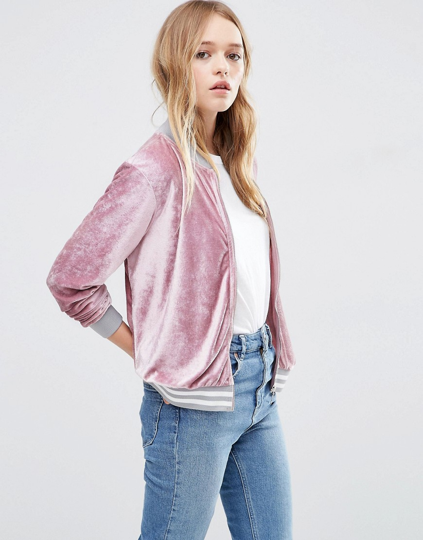 Asos Bomber Jacket In Velvet Pink In Pink Lyst