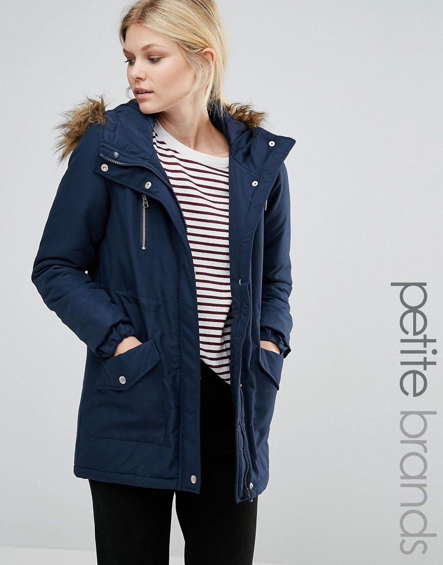 Noisy May Petite Parka Jacket With Faux Fur Trim Hood In