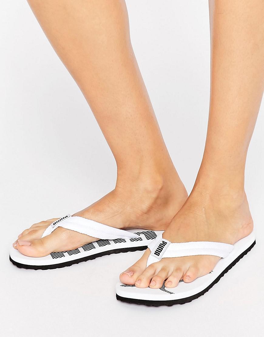 6558ef9511dea9 Puma Logo Flip Flop Sandals In White in White - Lyst