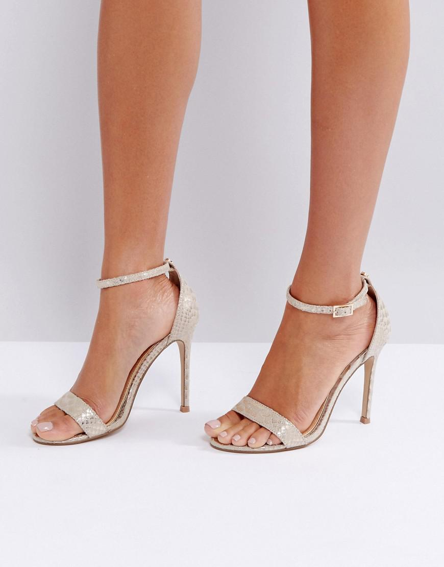 957cf6bc8b Lipsy Barely There Heels In Gold Snake Print in Metallic - Lyst
