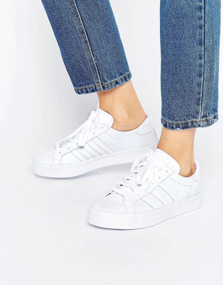 ce0f4aef637963 Lyst - adidas Originals Originals White Faux Snake Court Vantage ...