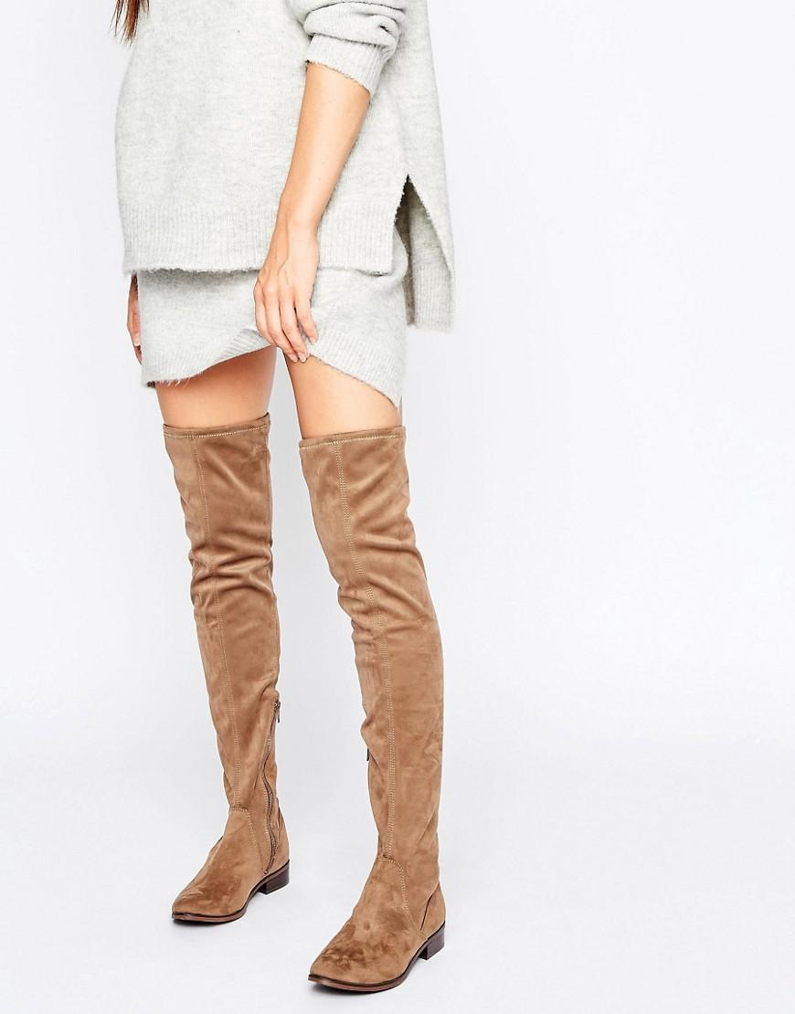 13ba23b6a54 Lyst - Aldo Elinna Flat Over The Knee Boots in Natural