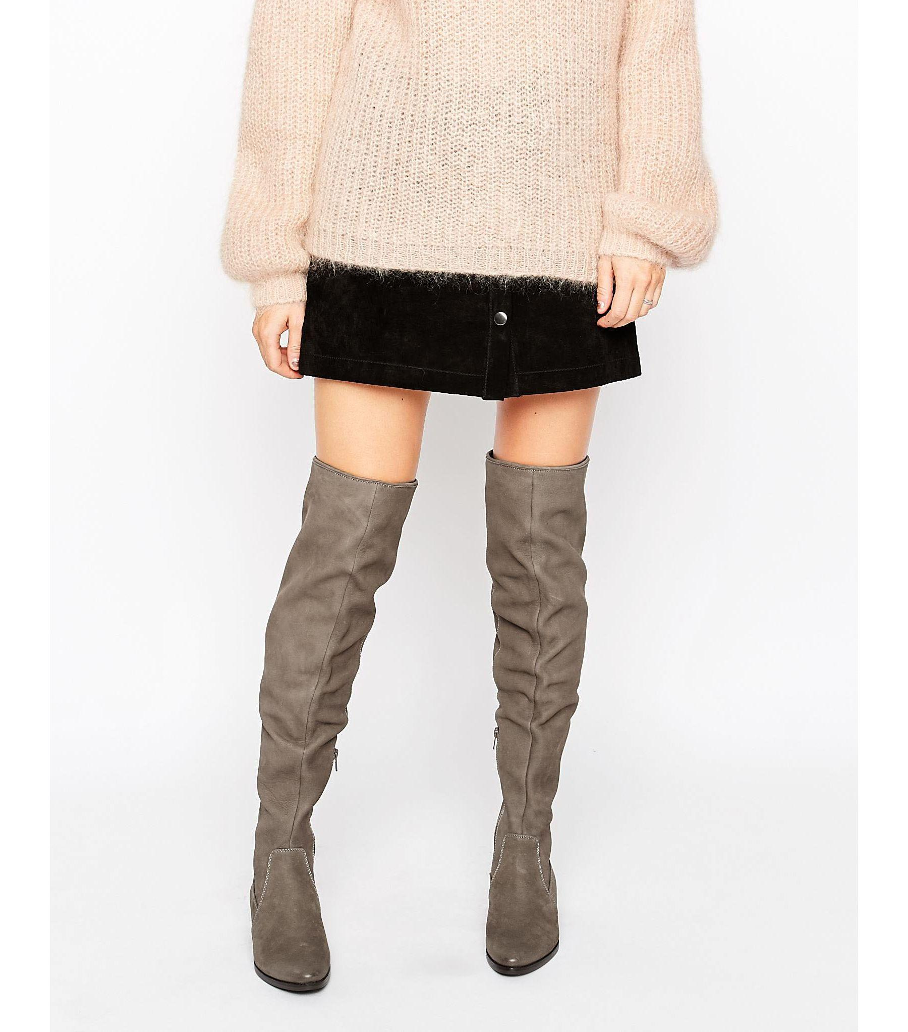 2dae147352a Aldo Chiaverni Leather Flat Over The Knee Boots - Lyst