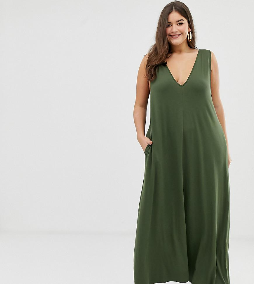 4c06e58cf15 Lyst - ASOS Asos Design Curve Plunge Trapeze Maxi Dress in Green