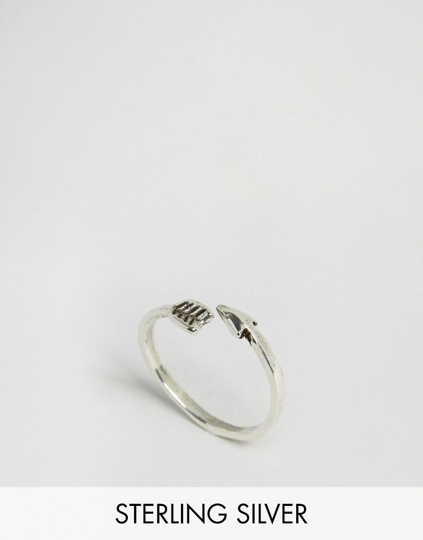 kingsley sterling silver open arrow ring in metallic