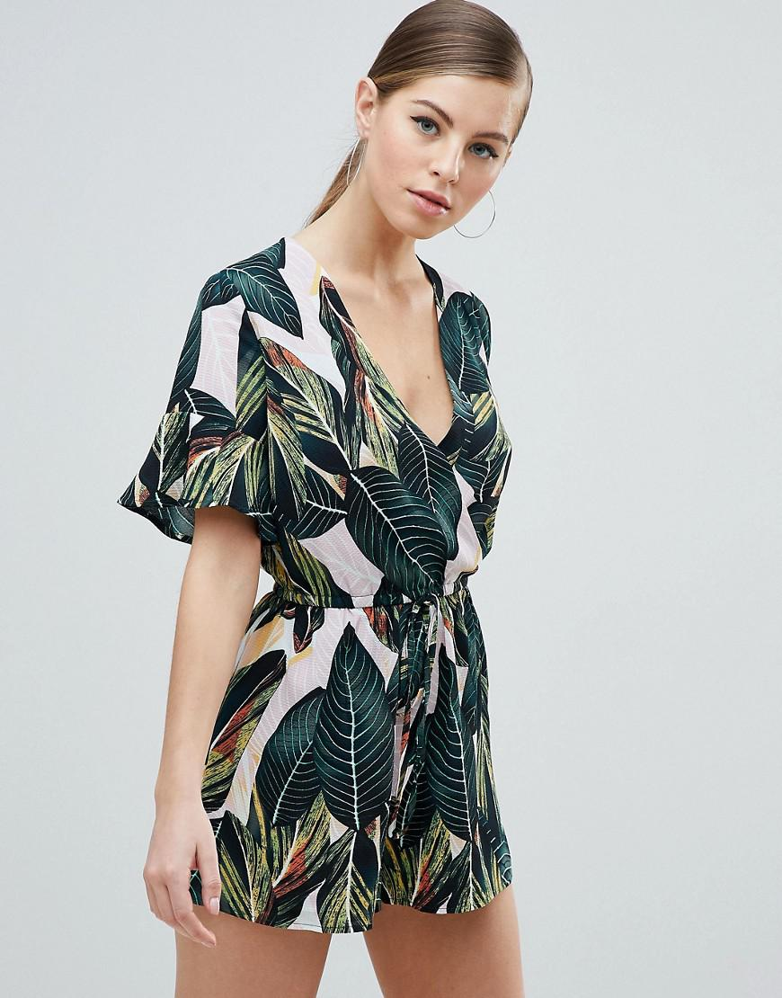 e1f15ca2943 Lyst - AX Paris Wrap Front Kimono Sleeve Palm Leaf Romper in Pink