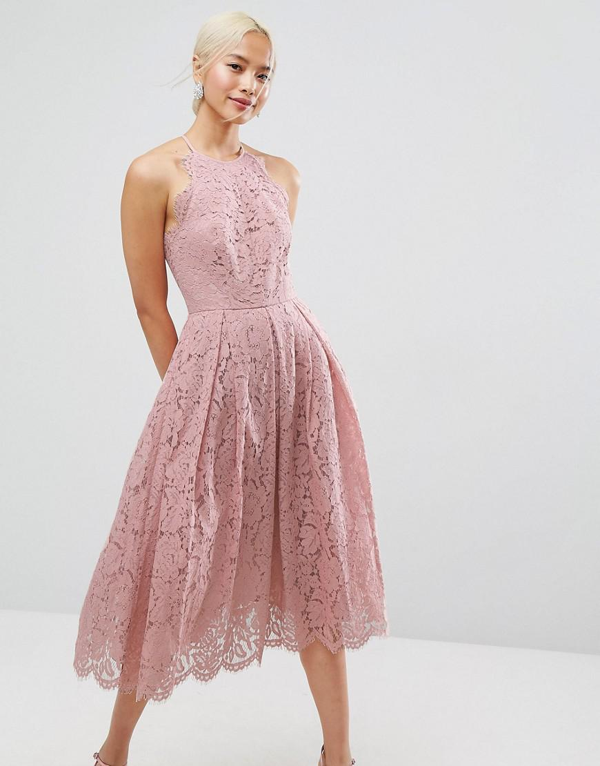 Lyst - Asos Lace Pinny Scallop Edge Prom Midi Dress in Pink