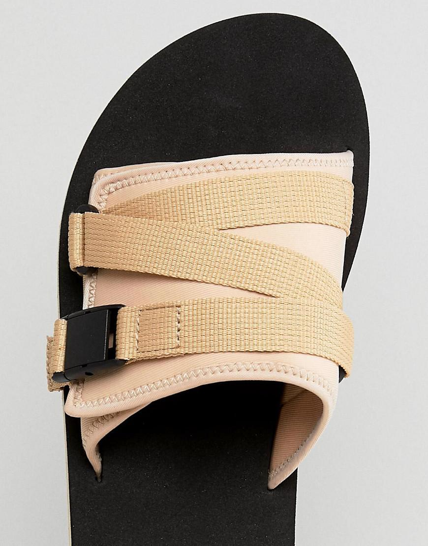 29b90787d9a Lyst - ASOS Asos Slider Sandals In Stone With Tape Straps for Men