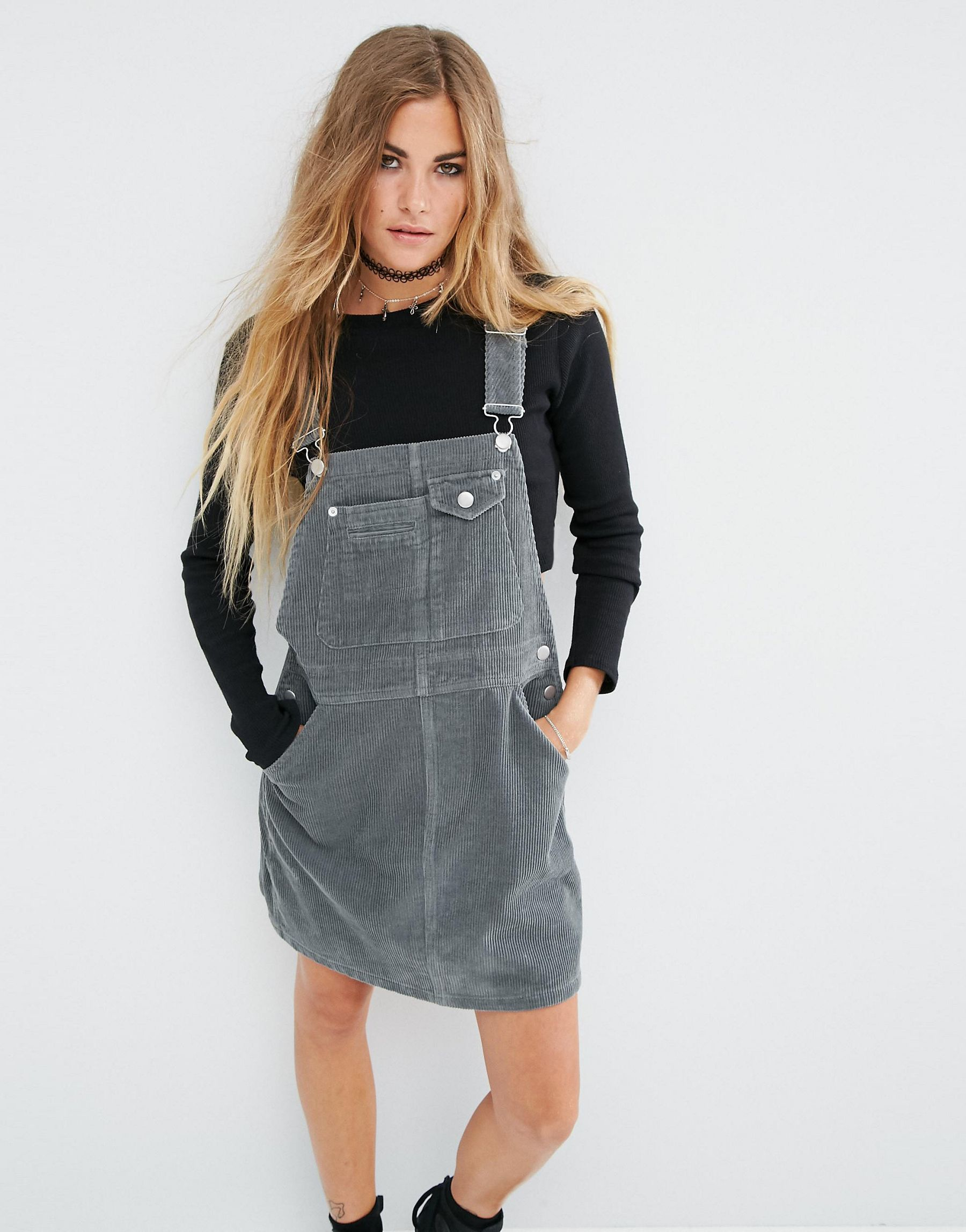 Lyst Asos Cord Dungaree Dress In Washed Khaki