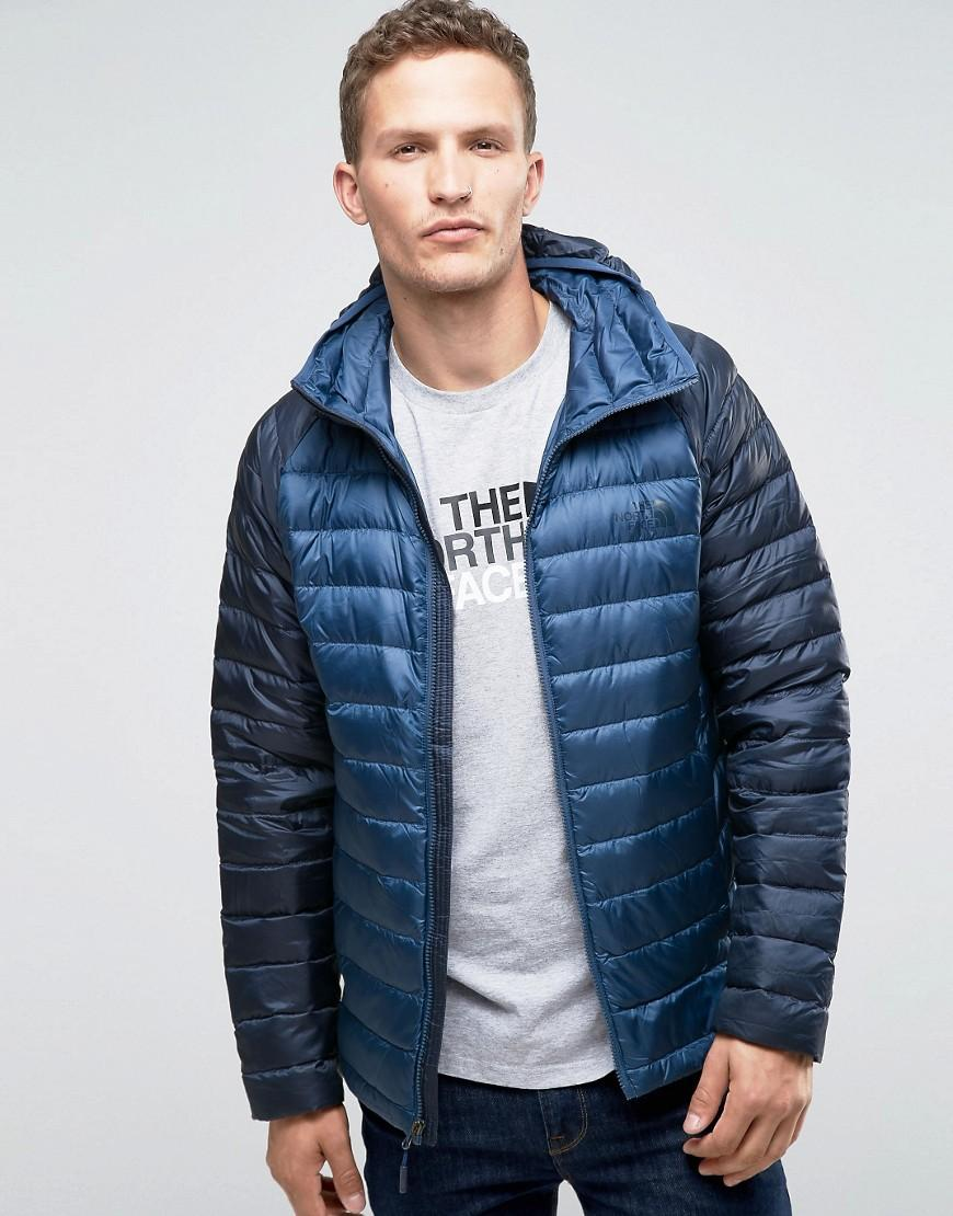 888145807656 Lyst - The North Face Trevail Down Jacket In Navy in Blue for Men