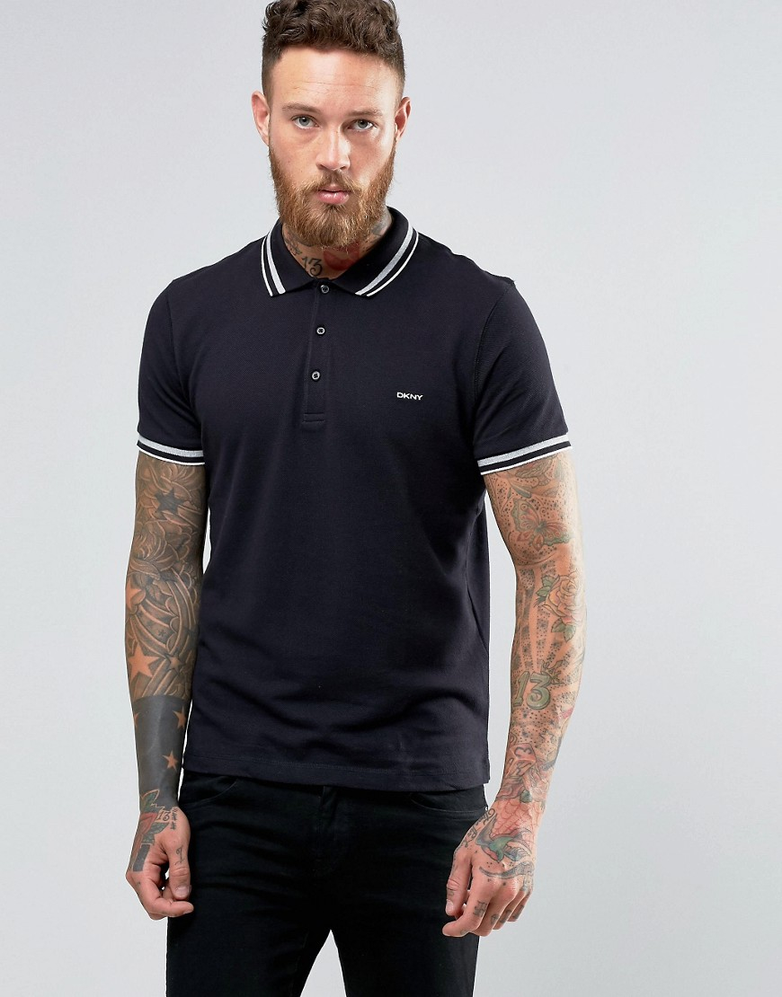 Dkny Tipped Polo Shirt - Black in Black for Men