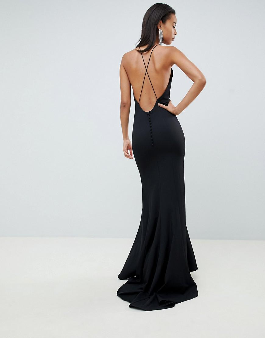 e89de722a2d Lyst - Jarlo Open Button Back Fishtail Maxi Dress Hem In Black in Black