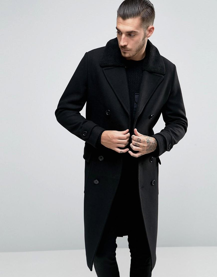 Lyst Asos Wool Mix Belted Double Breasted Overcoat With