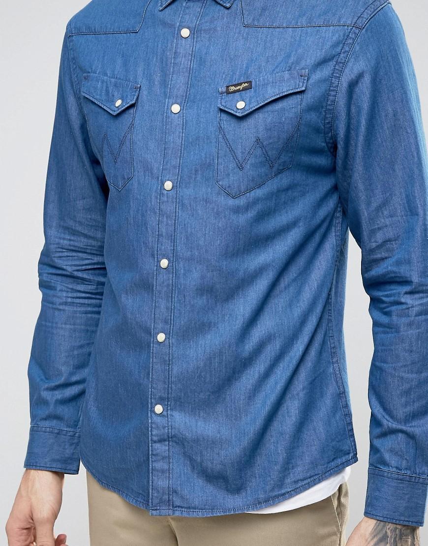 Lyst wrangler longsleeve western denim shirt in blue for men for Wrangler denim shirts uk